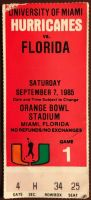 1985 NCAAF Miami Hurricanes ticket stub vs Florida