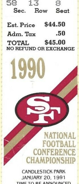 1991 NFC Championship Game ticket stub Giants 49ers