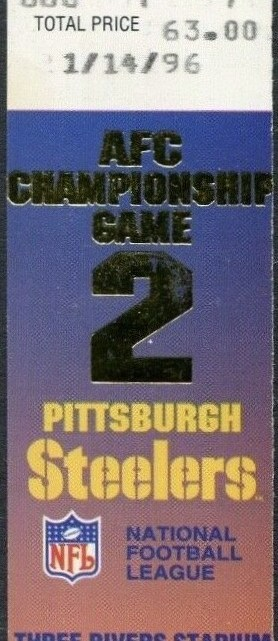 1996 AFC Championship Game ticket stub Colts Steelers