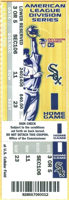 2005 ALDS Game 1 ticket stub White Sox Red Sox 60