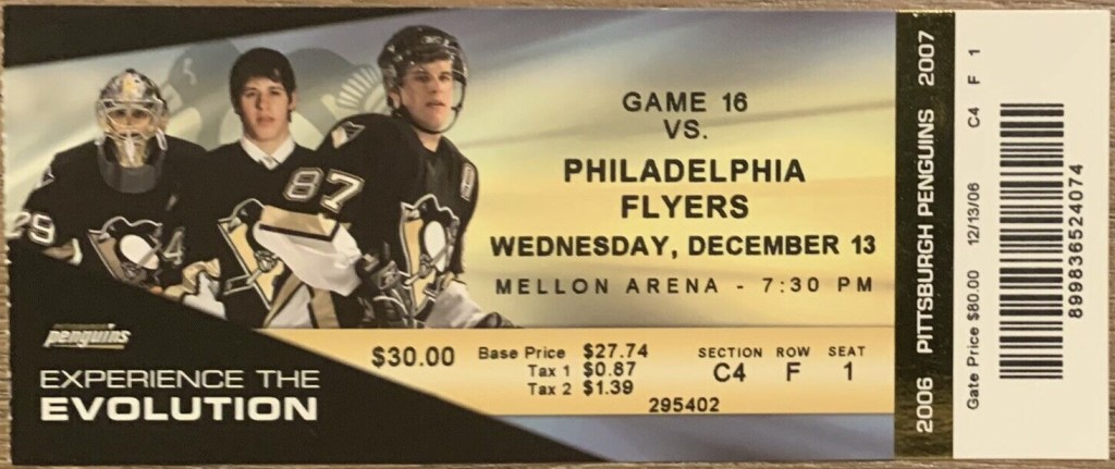 2006 Sidney Crosby First 6 Point Game Full ticket stub