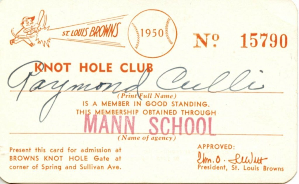 1950 St. Louis Browns Knot Hole Game Pass