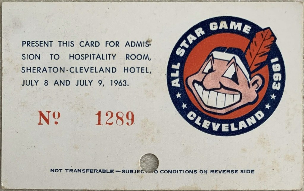 1963 MLB All Star Game Press Pass Hospitality Room