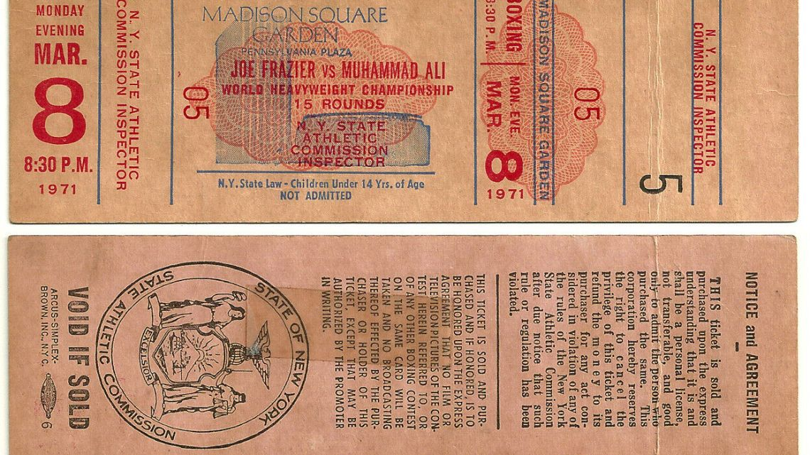 1971 Muhammad Ali Joe Frazier Unused Boxing Ticket