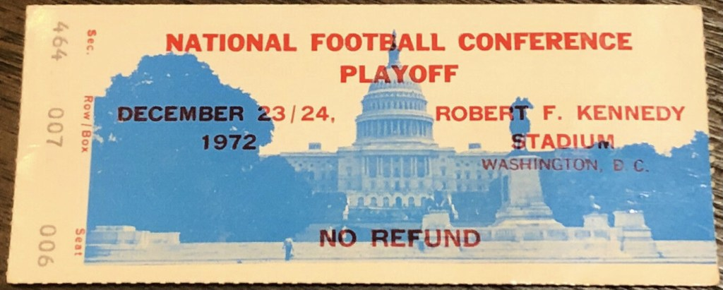 1972 NFC Divisional Game ticket stub Packers Redskins