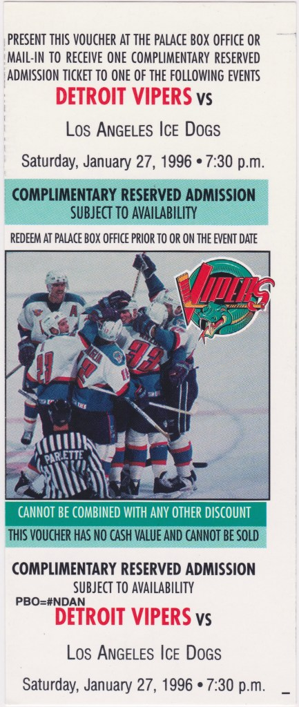 1996 Detroit Vipers ticket voucher vs Los Angeles Ice Dogs