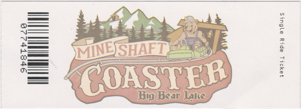 2021 Big Bear Mine Shaft Coaster Ticket Stub