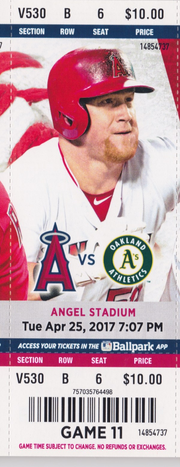2017 Angels Full Ticket vs Athletics Apr 25 Mike Trout