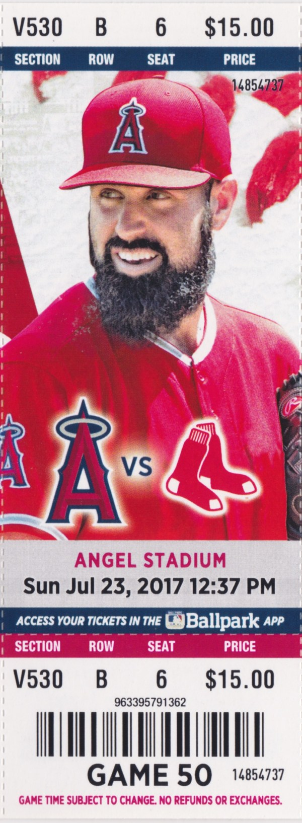 2017 Angels Full Ticket vs Red Sox Jul 23 Mike Trout