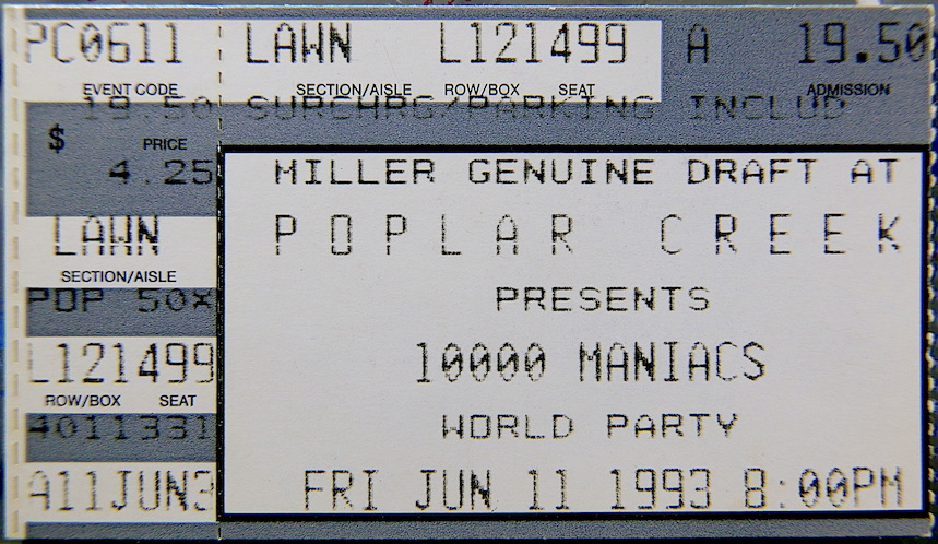 1993 10000 Maniacs And World Party ticket stub Chicago