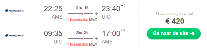 Voorbeeldboeking Quito 5 - 25 februari