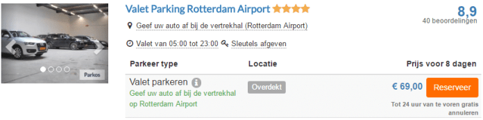 Valet parkeren Rotterdam The Hague Airport