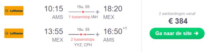 Voorbeeldboeking Mexico-Stad korte overstap 21 november - 8 december