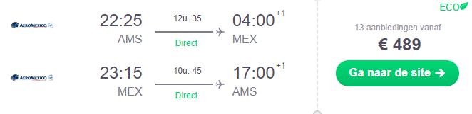 Voorbeeldboeking Mexico-stad 27 februari - 10 maart AeroMexico