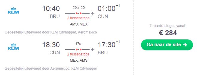 Voorbeeldboeking Brussel - Cancun 6 - 19 maart