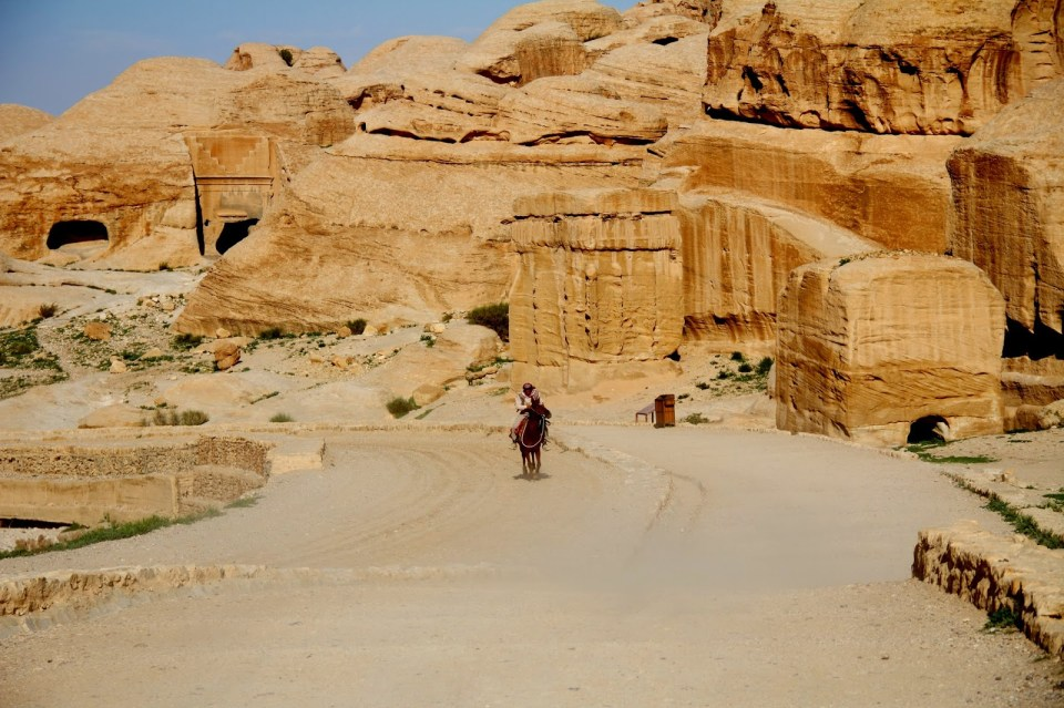 Petra: Local Bedouin galloping by!