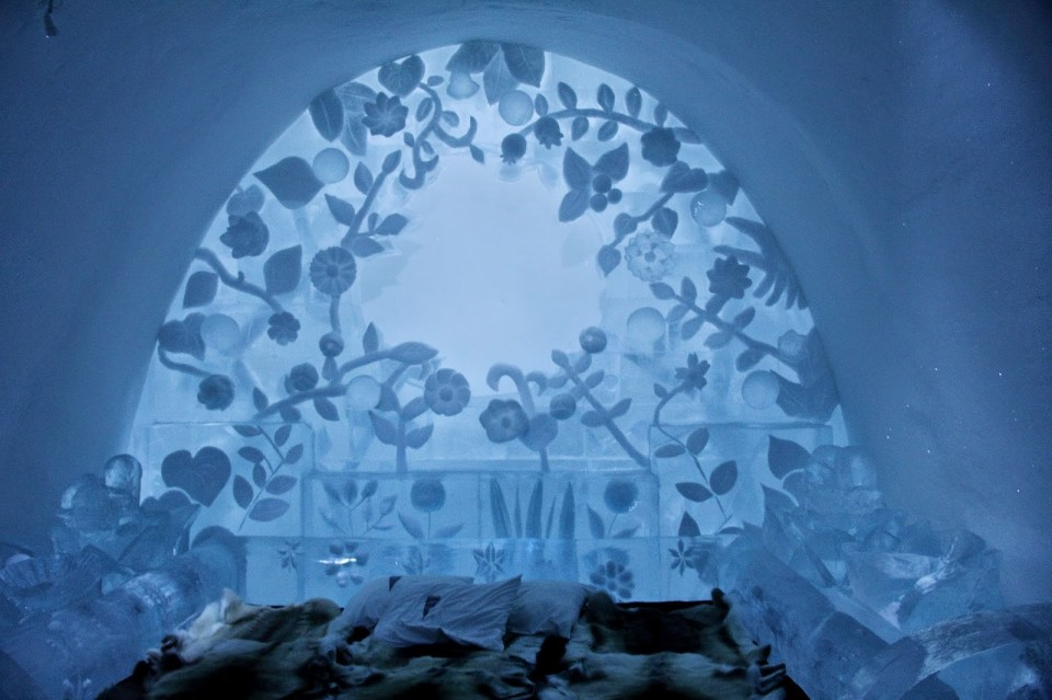 Ice Hotel: Art suite 'The Flower', inspired by a flower that blossomed in Japan after the nuclear disaster, signifying the will to live