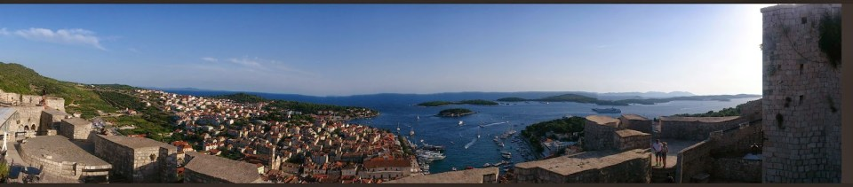 Hvar: Panorama from the Fortress (Hvar Town, Pakleni Islands and Fortess walls)