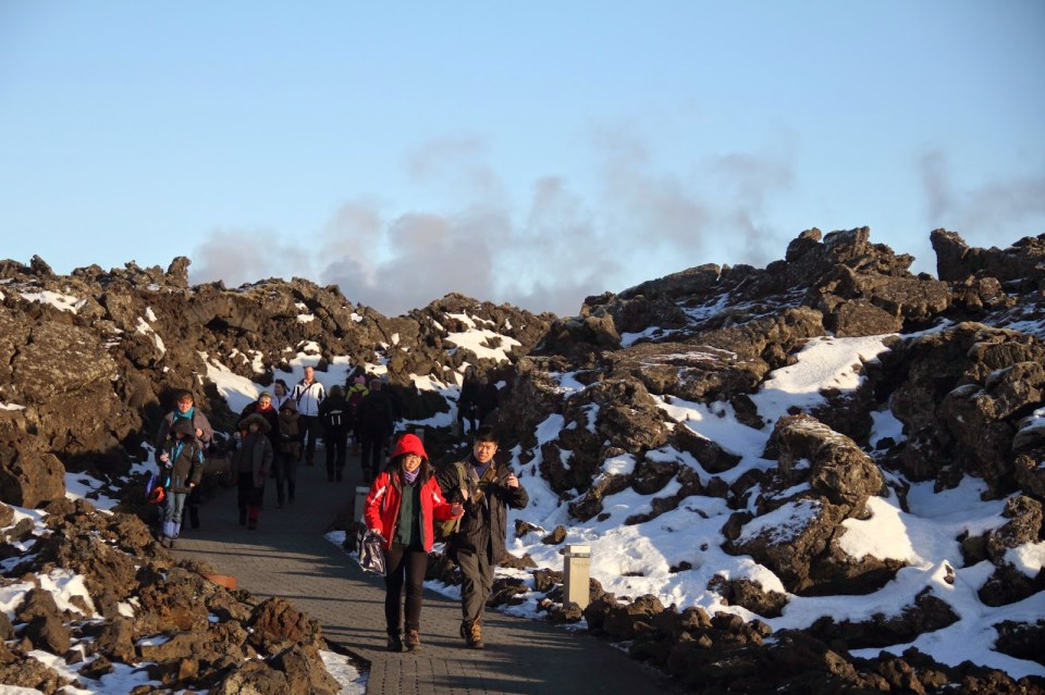 Blue Lagoon entrance, surrounded by lava rocks