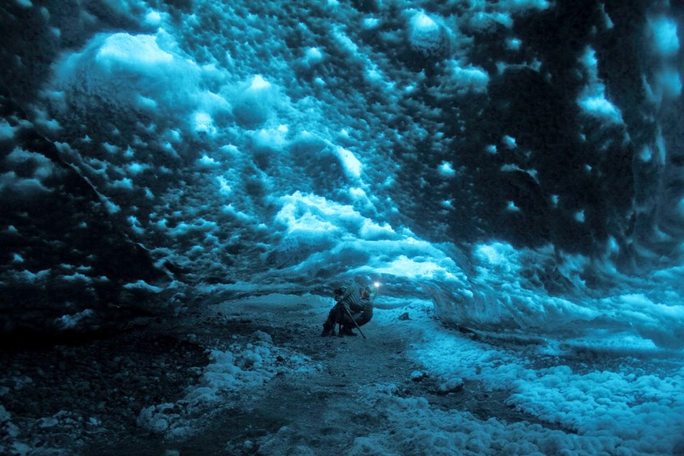 Inside the ice cave...
