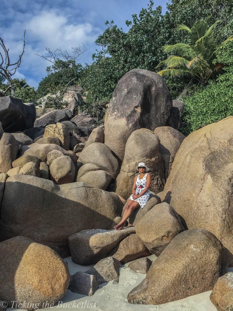 'Rock Climbing' at Anse Lazio