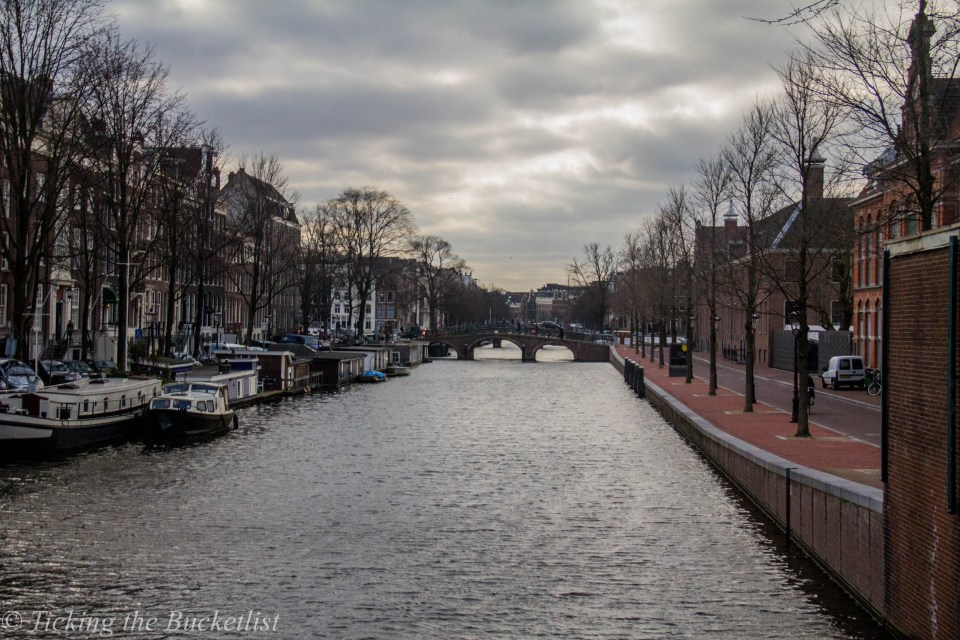 Canals of Amsterdam on a cloudy winter day