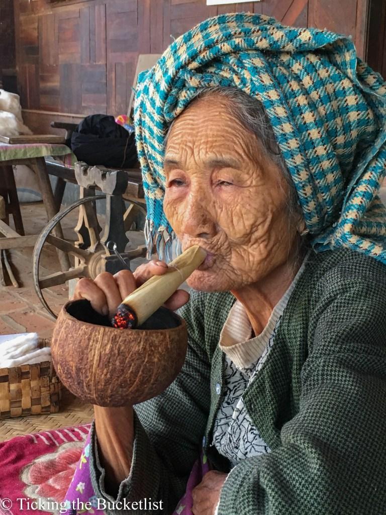 Granny going puff...puff...puff!