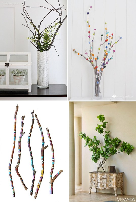 minimalist holiday decor - good base items as part of your regular decor that you can just customize for each holiday or season | summer branches, summer decor