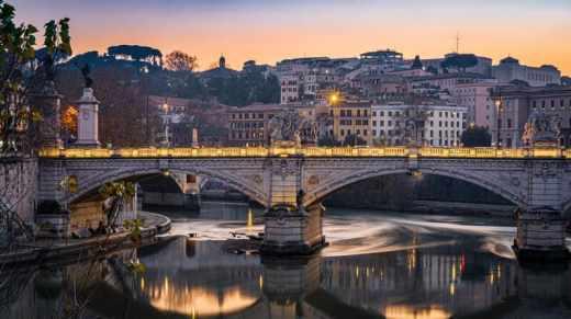 Rome photo de nuit point illuminé