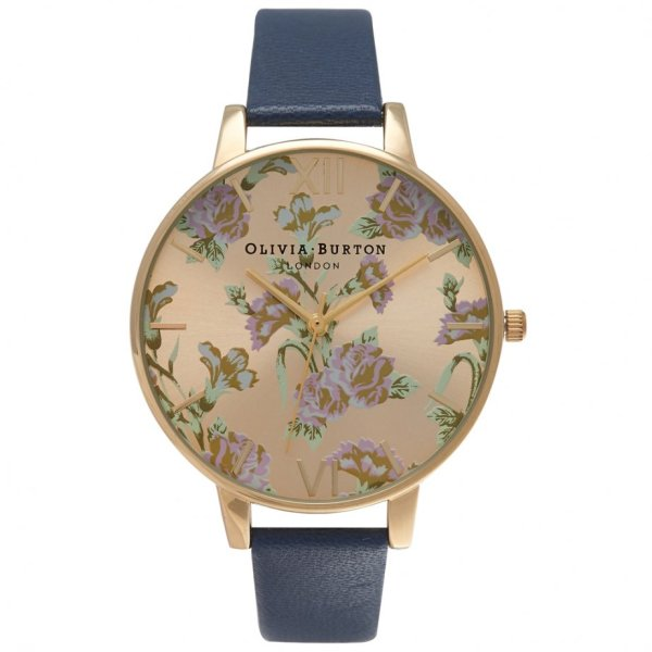OB14PL16 Olivia Burton Navy Strap Floral Dial Available at ...