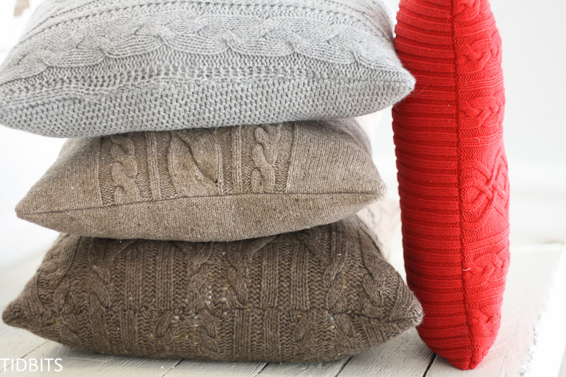 Cozy-up Your Home with Re-purposed sweater Pillows + the secret for avoiding wavy seams when sewing with knit sweaters.