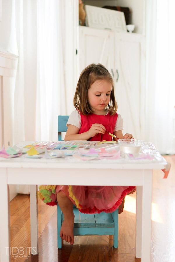 Spring Kids Craft Watercolor Banner Tidbits-9