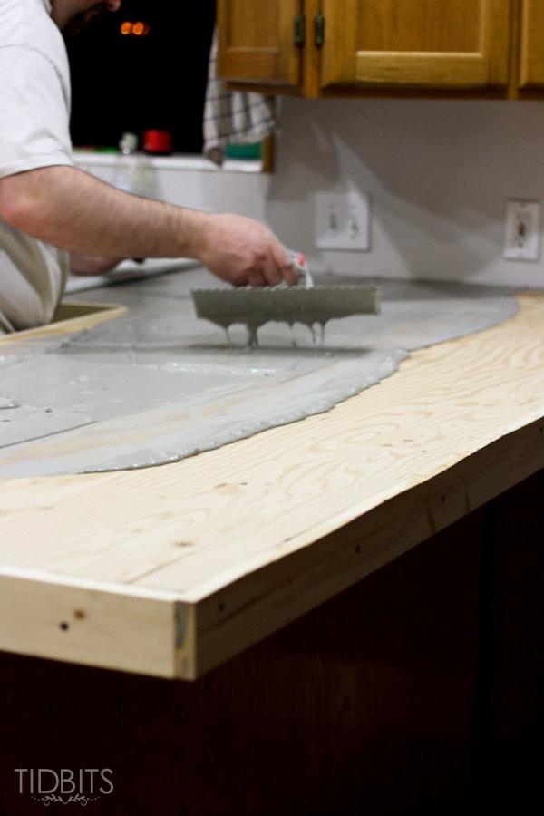 Feather Finish Faux Concrete Countertops 7