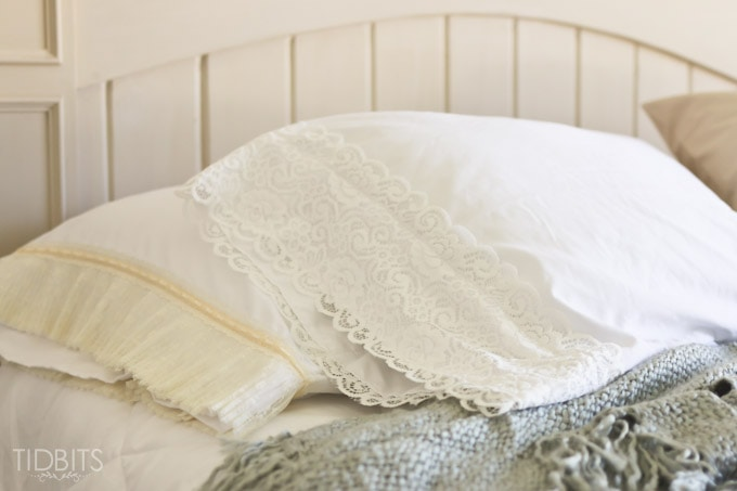 DIY Lace PIllowcase | Add some vintage charm to a pre-made basic pillowcase.