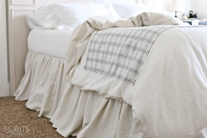 gathered bed skirt made from a drop cloth or any fabric of choice time saving