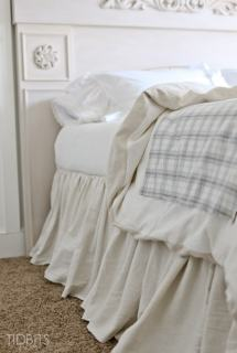 Gathered Bed Skirt made from a drop cloth or any fabric of choice. Time saving gathering technique included in tutorial. - by TIDBITS
