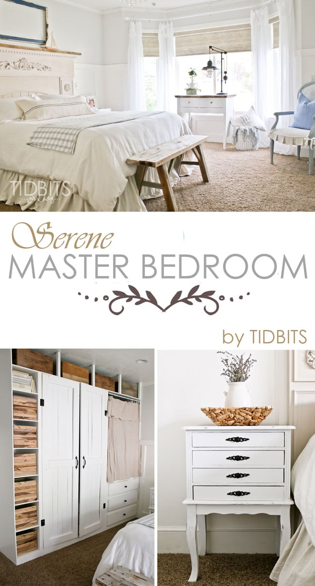 A serene master bedroom makeover, full of DIY's, thrifted treasures, and beautiful decor - by TIDBITS.