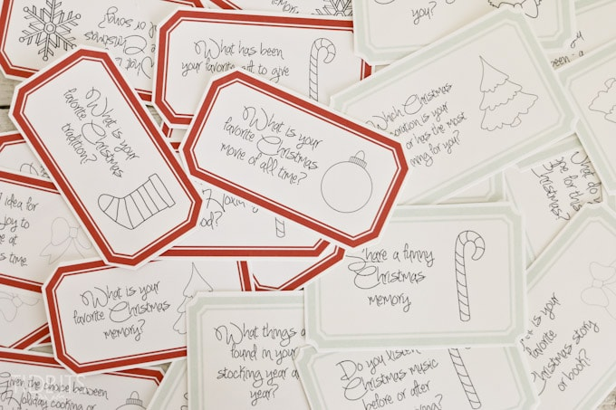 Christmas Countdown Conversation Cards - 25 days of enjoyable Holiday discussion for all ages. Free Printable.