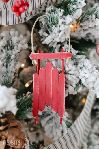 Popsicle Stick Sled Ornament