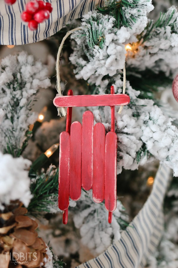 Popcycle stick sled ornament tutorial - Fun craft for the whole family!