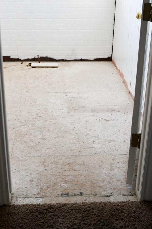 Diy shiplap pine wood floors bathroom makeover progress