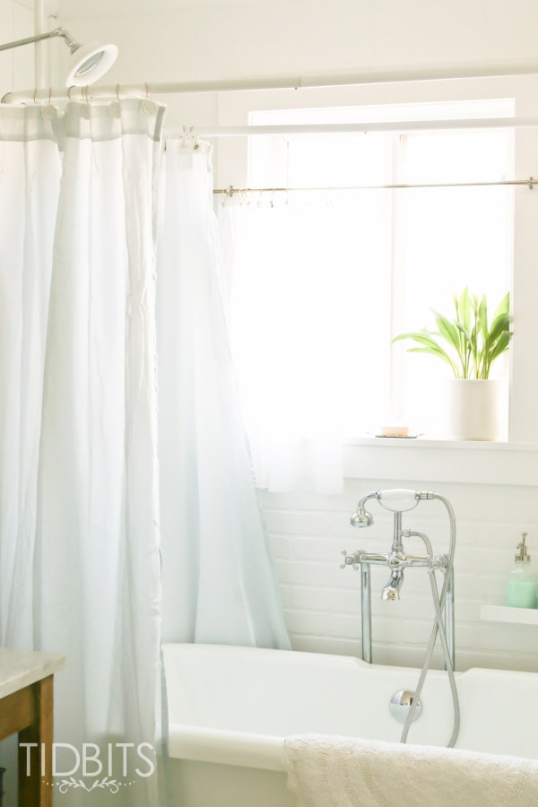 How to Make a Window Curtain Work for a Shower Curtain - Tidbits
