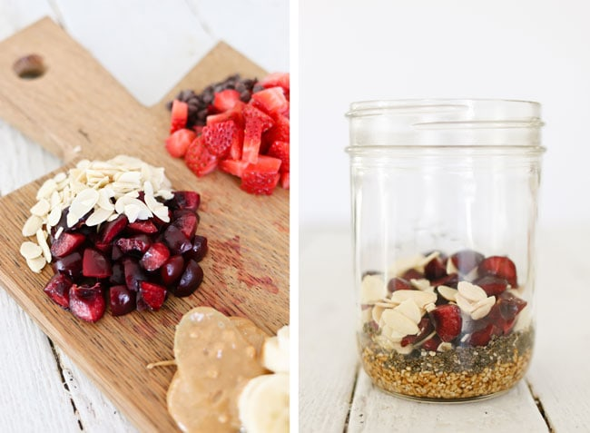 Mason Jar Steel Cut Oats - cooked right in the jar inside a pressure cooker. Prepare the night before and easily cook in the morning to enjoy chewy, delicious steel cut oats of all varieties for breakfast.