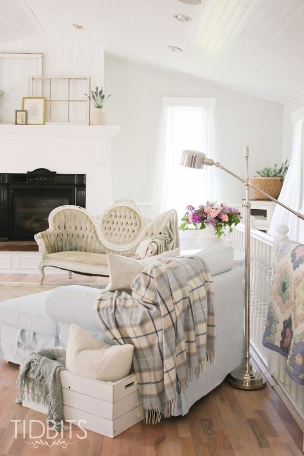 Cottage Living Rooms Part - 29: White Cottage Living Room Update By TIDBITS.