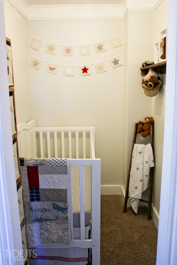 Closet into a nursery before and after.
