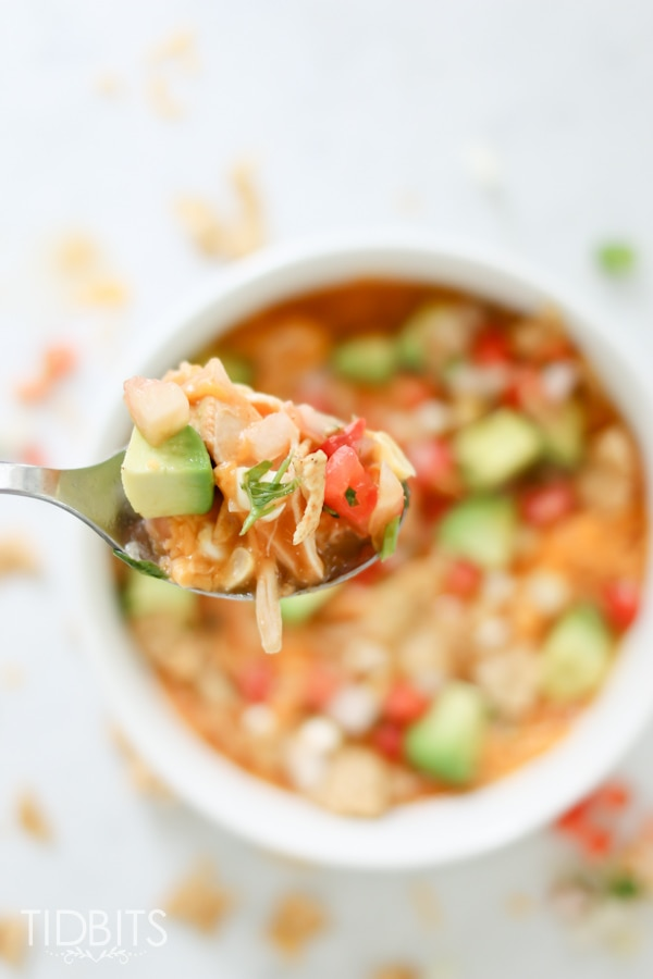 Pressure Cooker Creamy Enchilada Soup. Packed full of veggies and good-for-you foods.