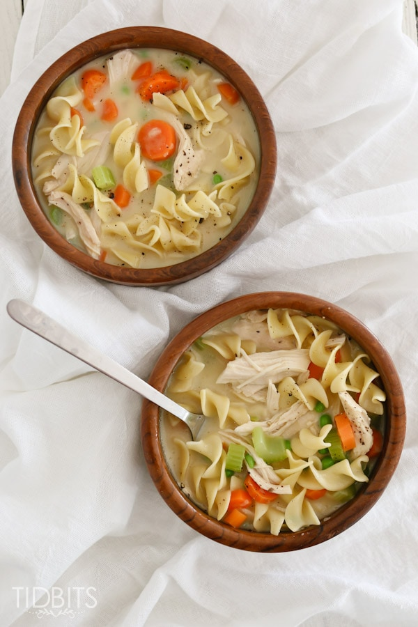 Creamy Chicken Noodle Soup made in the electric pressure cooker.