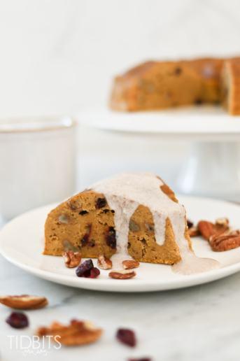 Pressure Cooker Pumpkin Pecan Breakfast Cake with Maple Cinnamon Sauce