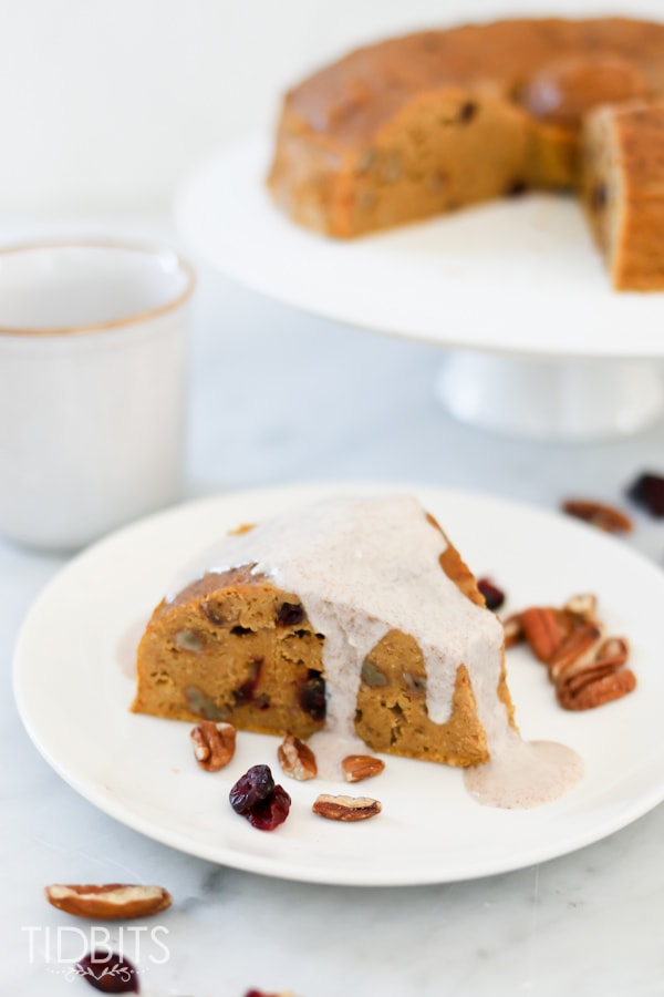 Pumpkin breakfast cake with a cinnamon maple drizzle - made in the pressure cooker.
