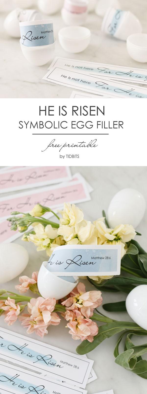He is Risen Free Printable - symbolic egg filler for Easter.